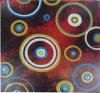 手のブラシの打撃のキャンバスの油絵-現代抽象的な円(TP09-0199)