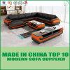 Sofá de madera del cuero del ocio de los muebles de Foshan