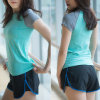 Salle de gym rapide sec Short Sleeve T Shirt Women's Sport exécutant Tshirt