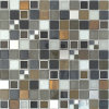 "25X25mm (1X1 "") Frosted Grey Glass Copper Metal Mosaic"