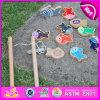 Giocattolo educativo variopinto magnetico di legno di pesca dei 2015 capretti, giocattolo magnetico di legno di pesca di DIY, giocattolo di legno poco costoso W01A071 del gioco di pesca