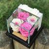 Caixa de indicador acrílica luxuosa do espaço livre da caixa de indicador do presente de Rosa com base