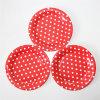 7  Partie de la plaque de papier, ronde Polka Red Dot les assiettes de papier