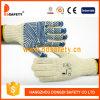 Сторона 2017 PVC одного волны голубой воды перчатки Knit шнура полиэфира хлопка Ddsafety