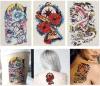Etiqueta engomada temporal impermeable del tatuaje de los pescados de flor del tótem colorido del modelo