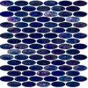 コバルトブルーのモザイクフロアーリングのガラス楕円形