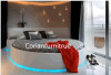 高品質のCorianの固体表面のホテルの部屋のベッドセット