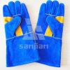 Двойные перчатка безопасности заварки ранга Split кожи Ab/Bc Plam Blue&Yellow 13  с CE