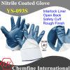Блокировка вещевого ящика с синими нитриловые грубая бумага с покрытием для рук и открытая сзади и безопасность манжеты/ EN388: 4221 (YS-093S)
