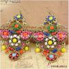 La primavera de bisutería de aleación de cristal pendientes pendientes para la mujer chapada en bronce antiguo Ecológico (PE-022)