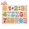 De nouveaux enfants les plus chauds de l'éducation Numéro de carte de puzzle en bois avec boutons W14M105