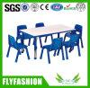 Cor Madeira plástico Kid Rectangle Mesa ajustável com cadeira de plástico