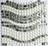 Mosaico de cristal blanco de la piedra y de la plata (HGM280)