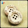 Logo fait sur commande de mot de laser autour de bouton en bois de chandail de 4 trous