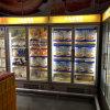 Doble puerta del refrigerador del cristal vertical de la puerta enfriador de bebidas