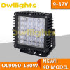 Super neues Baumuster! ! 4D Reflector Car Accessories Autoteile Offroad Square Shape 12V 24V 9inch 180W 360W LED Driving Light für 4X4