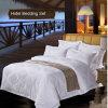 純粋な綿の中級のホテルのための白いホテルのジャカード寝具セット