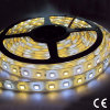 Color de doble LED SMD 5050 de 60 LED de 24 V de la luz de tira flexible