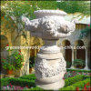 Plantadeira esculpida em pedra mármore Garden Flower Pot (GS-FL-002)