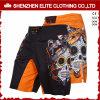 Shorts su ordinazione del poliestere MMA di stampa nera all'ingrosso di sublimazione (ELTMMJ-143)