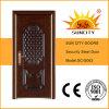 新しいデザイン熱い販売の木の穀物カラー鋼鉄ドア(SC-S063)