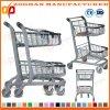 Супермаркет металла 2 корзин покрынный кромом регулируя вагонетку покупкы (Zht201)