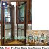 Fenêtre en bois de teck avec revêtement en aluminium, l'Amérique Villa Maison en bois de teck Fenêtres à battants de la conception en aluminium