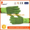 Knit verde pesado da corda de Ddsafety 2017 com as luvas pretas do PVC