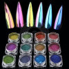 Неон Русалки лак для ногтей Блестящие цветные лаки порошок Unicorn маникюр наружного зеркала заднего вида хромированные пигмента
