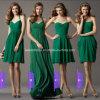 La longue demoiselle d'honneur Chiffon simple courte de vert d'herbe de robe de soirée rectifie Bb2016