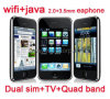 WiFi+TV+Java+Dual SIM+Quadバンド携帯電話(F003)