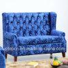 Sofá de luxo do hotel de assento duplo com veludo azul e estofados confortáveis (SP-KS351)