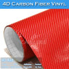Glue fuerte 4D Red Carbon Fiber Car Cover Vinyl Film