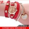 Yxl-400 2016 여자 석영 다이아몬드 손목 시계를 위한 새로운 유행 표범 직물 포장 리베트 가죽 팔찌 시계