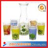 7PCはガラス飲み物ディスペンサーガラスのタンブラーを印刷した