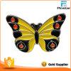 中国の安い黄色金属の蝶柔らかいエナメルの折りえりPin