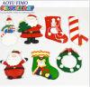 Décoration d'ornement de coup de Noël de bonhomme de neige de chaussette du Père noël de la pâte d'argile de polymère