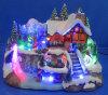 Polyweihnachtsdekoration 12 '' LED-Dorf-Szene mit drehender Serie und dem bewegenden Eislauf, 8 Weihnachtsliede