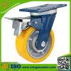 Gelbe PU auf Roheisen-Rad-Fußrolle