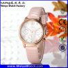 Relógio de pulso ocasional das senhoras de quartzo da forma da cinta de couro (Wy-078B)