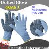 7g Синий нейлон / хлопок трикотажные перчатки с черным ПВХ Dots