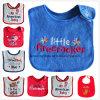 顧客用ロゴワードは綿のテリー布の昇進の赤ん坊の胸当てを刺繍した