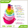 Conjunto de cesta de drenagem de arco-íris PP de qualidade alimentar, conjunto de preparação de copo de mistura de tigela de mistura de medição Set 8 em 1