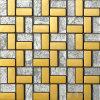 """1X2 het """" Zilveren Mozaïek van het Glas van het Blad met Gouden Metaal"""