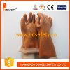 Ddsafety 2017 коричневый ПВХ рабочие перчатки с песчаными гладкой завершилась с 100%хлопок гильзы цилиндра