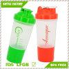 bottiglia di plastica dell'agitatore della proteina 500ml con il reticolato e lo scompartimento