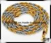 [7مّ] حبل [لينك شين] عقد صفراء وفولاذ نوع ذهب يملأ عقد