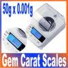 50グラム* 0.001グラムデジタルカラットスケール/宝石のダイヤモンドのスケール