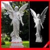 Scultura della statua intagliata angelo di pietra di marmo bianco
