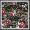 Tela do laço com tela do laço do bordado de Rosa com bordado da flor